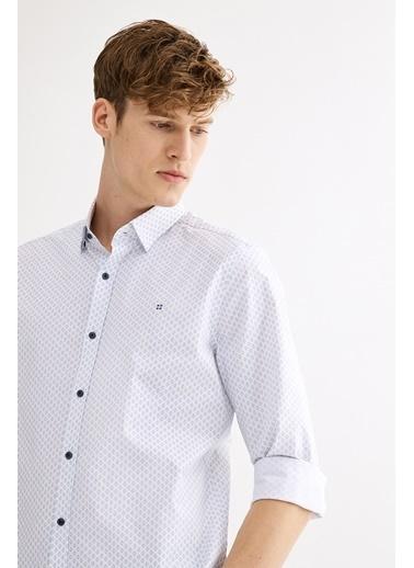 Avva Baskılı Alttan Britli Yaka Slim Fit Gömlek Beyaz